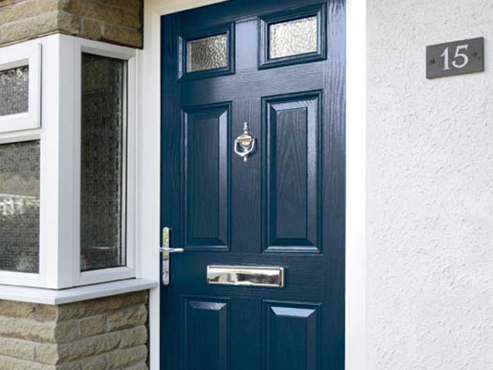 Composite front door in blue