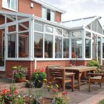 P shape conservatory with glazed roof
