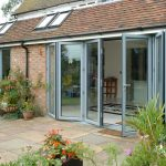 Grey aluminium sliding folding glass door