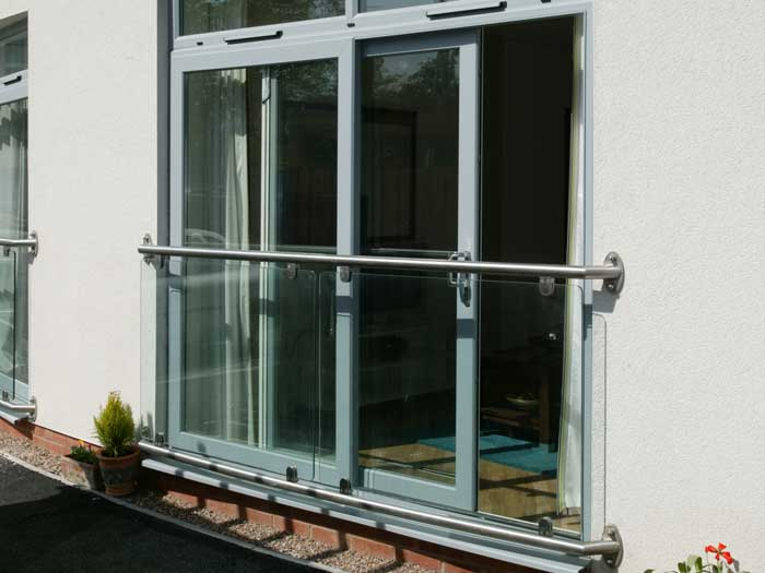 Sliding patio doors in grey uPVC