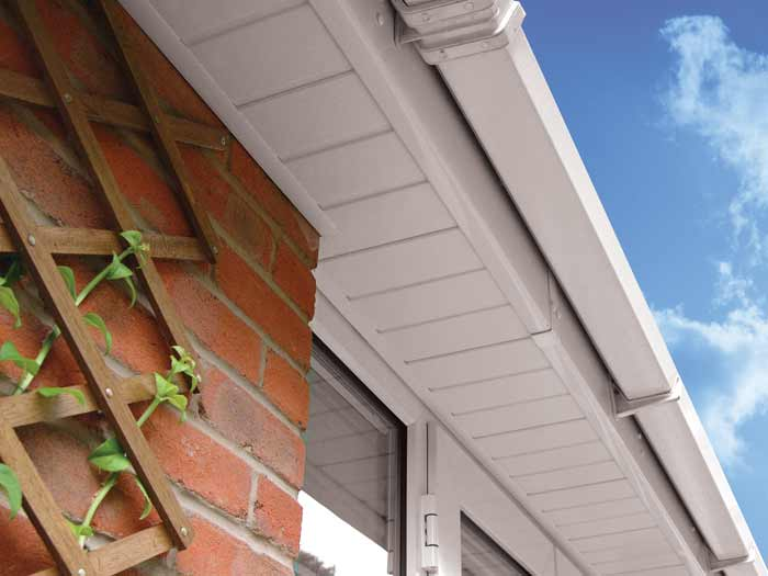 White upvc cladding and guttering