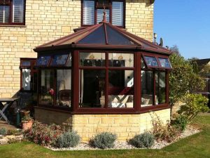 Rosewood conservatory with brick base