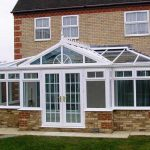 T-shape conservatory in white uPVC - planning permission for a conservatory