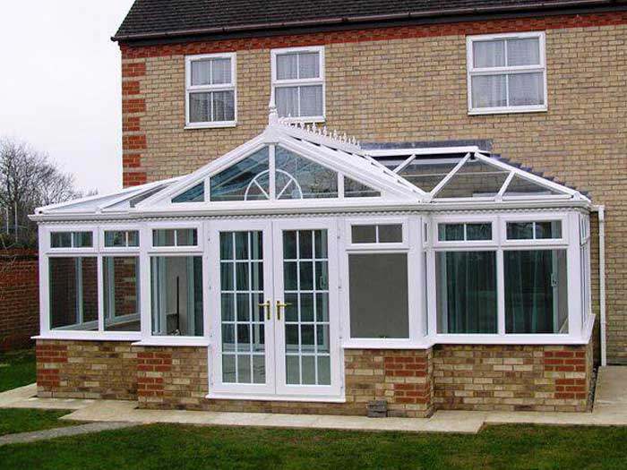T-shape glass conservatory roof