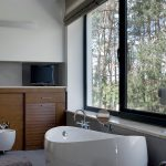 Black aluminium windows installed in bathroom