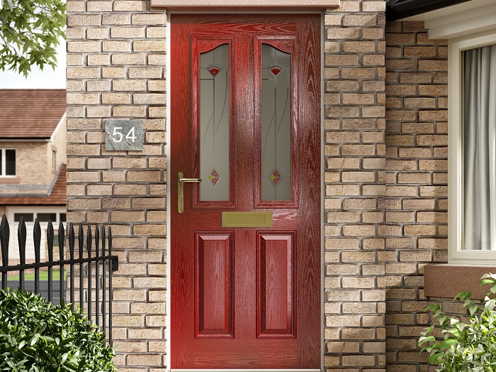 Red entrance door