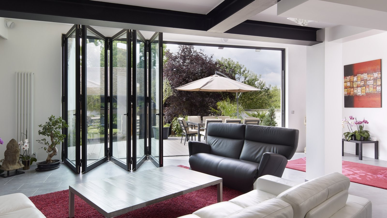 bifolding door black- add value to your home with a garden