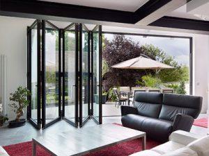 half open black bifold doors