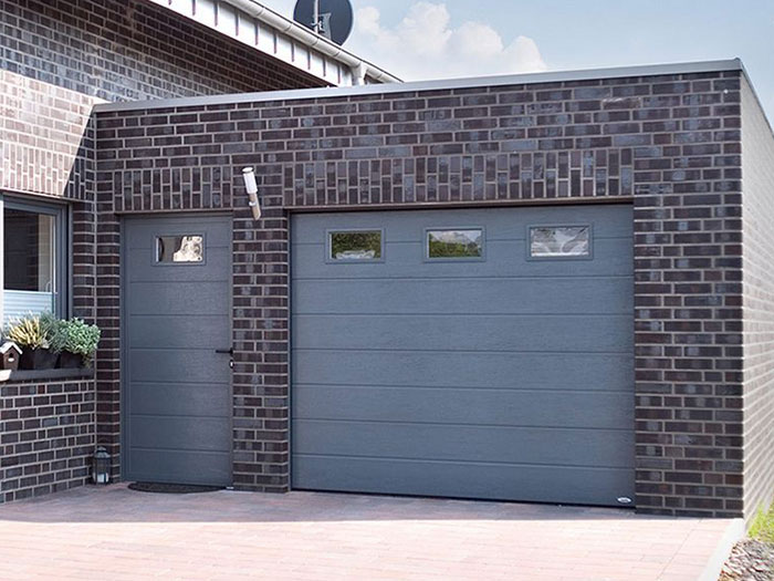 Grey garage and side door