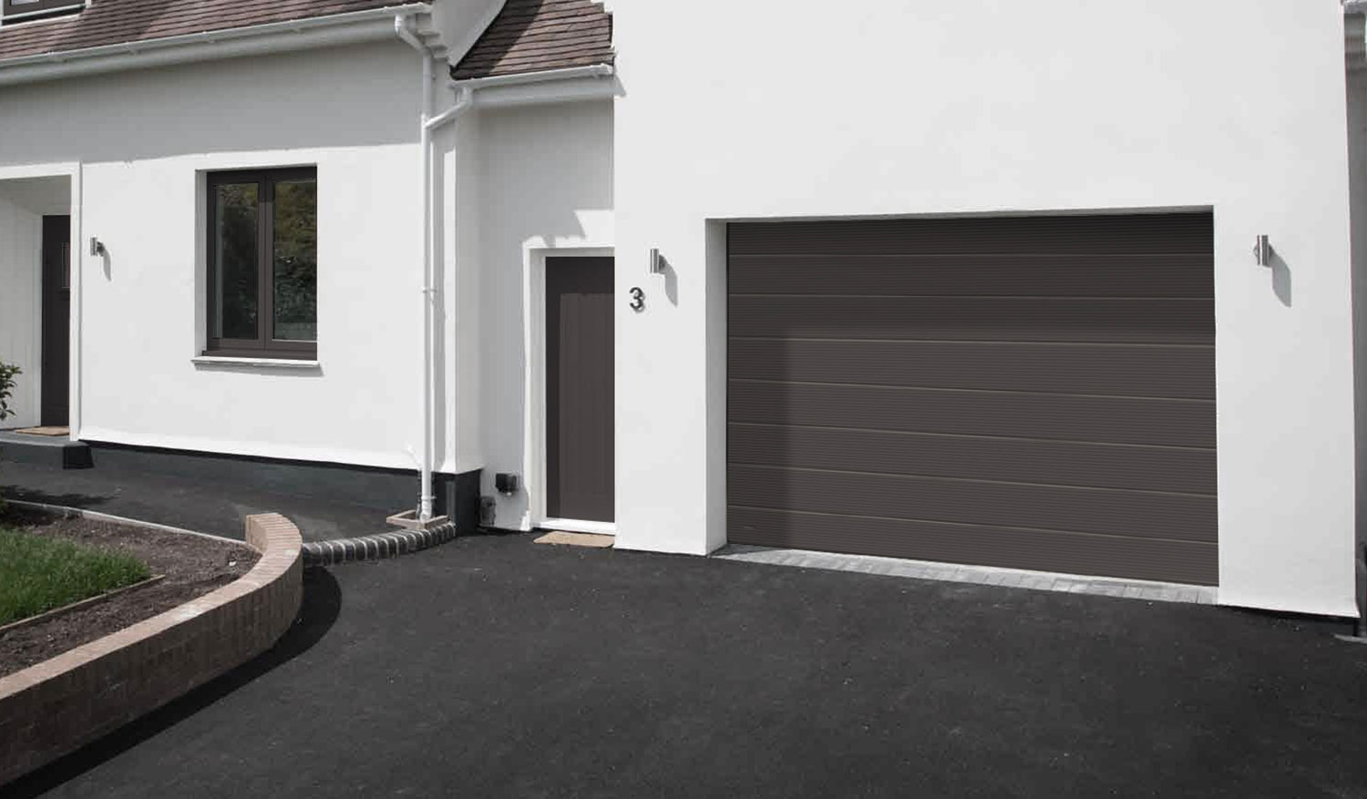 Grey garage door installation