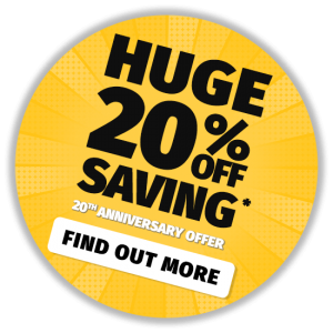 To celebrate our 20th anniversary we're offering 20% off our entire product range.