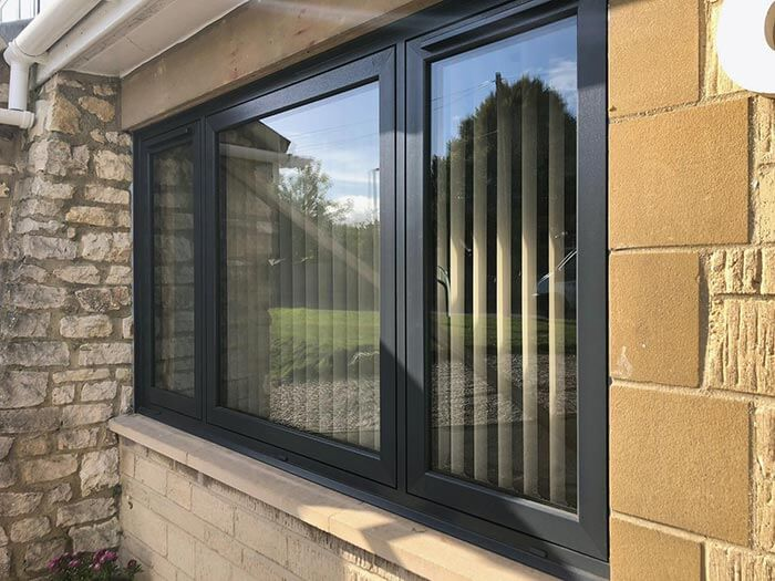 Anthracite grey flush casement window