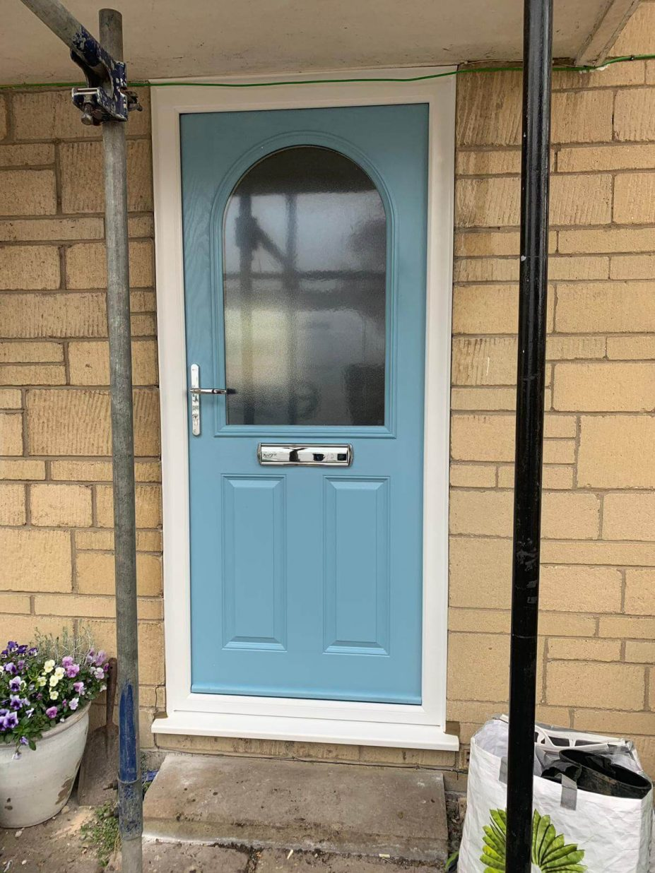 Composite front door in Duck Egg Blue