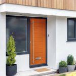 Orange composite front door.