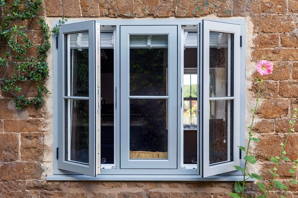 Outside view of open R9 windows installed in heratage building in Swindon.